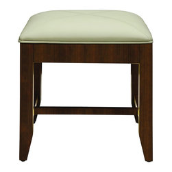 """DecoLav - Decolav 5239-MMG Jordan Modular Vanity Stool in Mahogany - Decolav 5239-MMG Jordan Modular Vanity Stool in MahoganyDECOLAV's Jordan Modular 18.875""""Wx18.875""""Dx21""""H Vanity Stool has solid wood frame and legs. Features faux leather saddle stitched cushion and is available in mahogany or antique white finish. Designed to accompany the 5236 vanity drawer. The Jordan collection was designed to emulate the charm and beautiful simplicity of a spirited lifestyle.Decolav 5239-MMG Jordan Modular Vanity Stool in Mahogany, Features:&#149 Part of the Jordan Modular Collection"""