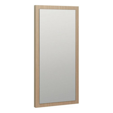 Bauhaus Mirror - This modern minimal mirror is available in 3 sizes, can be hung horizontally or vertically and is available in 2 finishes: 'Dune' and 'Steel' with wood grain texture.