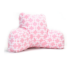 Majestic Home - Indoor Soft Pink Links Reading Pillow - How do you make a bestseller even better? Support yourself with this relaxing reader pillow. With its fresh and fabulous pattern in your decor, you'll enjoy comfort and style — end of story!