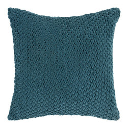 "Surya - Square Cotton Pillow P-0275 - 22"" x 22"" - This solid textural pillow gives your space a fun, new look. The color teal green accents this decorative pillow. This pillow contains a poly fill and a zipper closure. Add this pillow to your collection today."