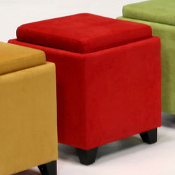 Armen Living - Microfiber Storage Ottoman in Red - The 530 Rainbow Storage Ottoman is a wood frame construction on espresso wood feet and covered in an easy to clean microfiber fabric. The top reverses from a padded seat to a convenient serving tray. Great for the family room.