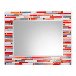 "Mosaic Mirror - White, Orange, Gray (Handmade), 30"" X 24"", Horizontal - MIRROR DESCRIPTION"