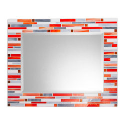 "Mosaic Mirror - White, Orange, Gray (Handmade), 30"" X 24"", Horizontal - MIRROR DESCRIPTION"