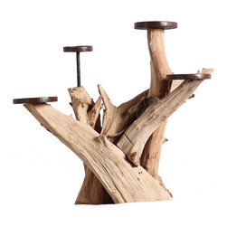 ParrotUncle - Driftwood Home Decorative Candle Holder - Natural, unfinished driftwood sculpted into a sturdy candle holders. Natural craft driftwood candle holders