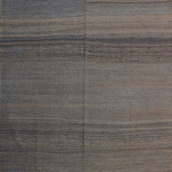 """ALRUG - Handmade Brown Oriental Kilim  6' 4"""" x 9' 7"""" (ft) - This Afghan Kilim design rug is hand-knotted with Wool on Wool."""