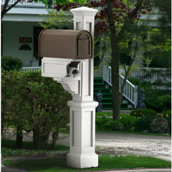 Rockport Single Mailbox Post - The Rockport Single Mailbox Post is perfect for mailboxes with a front and back door, to avoid walking onto the street to retrieve your mail. Pair with your choice of mailbox for a custom look.