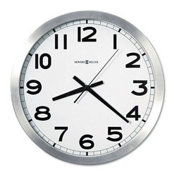 Howard Miller - Round Brushed Aluminum Wall Clock w Large Bla - Contemporary clock adds that industrial feel into your space easily. This large, round clock has a metallic rim with a flat finish. The easy-to-read numbers are large. And the white face of the clock is designed to reduce glare. A welcome addition to your kitchen, office or great room. Large, black Arabic numerals for easy & accurate reading. Contrasting extra large white dial to sharpen accuracy. Flat glass crystal provides no-glare view. Modern metallic design with flat silver rim prevents glare. Includes second hand for the correct time down to the second. Requires one AA battery (not included) . Dial Diameter: 14 in. Overall Diameter: 15 3/4 in. 2 in. D