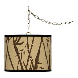 "Giclee Glow - Asian Earth Bamboo Giclee Glow 13 1/2"" Brass Swag Pendant - Add fresh style and a stylish lighting accent with this swag chandelier. This design features an exclusive giclee pattern custom-printed onto a translucent styrene shade. This allows warm light to shine through the shade illuminating the pattern and creating a spectacular look. Installation is easy simply drape the cord on the included swag hooks then plug in to any standard wall outlet and turn on! Custom made to order. Antique brass finish. Custom printed translucent styene shade. Exclusive giclee printed pattern. Includes swag hooks and mounting hardware. Maximum 100 watt bulb (not included). In-line on/off switch. Shade is 13 1/2"" wide 10"" high. Includes 15 feet lead wire 10 feet chain.  U.S. Patent # 7347593.  Antique brass finish.  Custom printed translucent drum shade.  Exclusive Earth Bamboo giclee printed pattern.  Includes swag hooks and mounting hardware.  Maximum 100 watt bulb (not included).  In-line on/off switch.  Shade is 13 1/2"" wide 10"" high.  Includes 15 feet lead wire 10 feet chain."