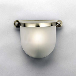 Aztec Lighting - Contemporary 1 Light Brushed Nickel Sconce - Light up any room with this 1 Light Sconce from Aztec Lighting. This sconce has a contemporary look featuring a brushed nickel finish and etched glass shade. This beautiful fixture is an excellent way to upgrade your current wall lighting.