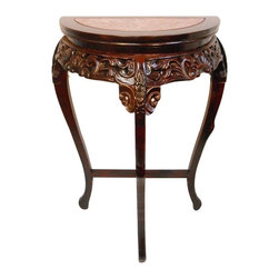 "Oriental furnishings - Marble Top Half Moon Floral Carved Wooden Hall Table - Our carved Oriental marble top ½ moon table makes a wonderful statement in hall, entry or small wall area. Use two together and make a wonderful round table! This mahogany table has a carved floral apron and reddish marble top at import direct price. Imported directly by Oriental furnishings and finished in medium red mahogany stain and lacquered to a hard finish. Top measures 20""W and 10"" at its widest. The table itself is 25x12x36. This table needs simple assembly, directions included. My 10 year old had one put together in 15 minutes."