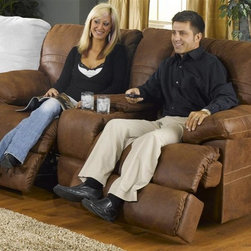 Catnapper - Ranger 379 Reclining Loveseat (Chocolate) - Color: ChocolateSeats 2. Includes cup holders and storage. Faux leather fabric. Attractive sewing details highlighted with double needle stitching. Features glider mechanism. Reclining Mechanism:. Installed with noiseless sure-lock spring clips. Strongest recliner seat box available. No warping or splitting in this critical area (standard on most models). Direct drive cross bar ensures that both sides of the mechanism operate together, in sequence, for longer life. Unitized steel base. Heavy 8-gauge sinuous steel springs in the seat provide strength, comfort and flexibility. Made of 100% polyester. Cleaning Method:. Clean only with water-based shampoo or foam upholstery cleaner. Do not over wet. Do not use solvent. Do not saturate with liquid. Pile fabrics may require brushing to restore appearance. Cushion covers should not be removed and laundered. Pictured in Tanner . No assembly required. Limited lifetime warranty. 79 in. L x 40 in. W x 40 in. H (198 lbs.)