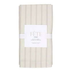 KAF Home - Flax Stripe Napkins, Set of 4 - These striped napkins are both casual and give a striking visual presence to the kitchen table. Perfect for an outdoor lunch or morning brunch. Available in a range of colors and come individually, or in sets of four.