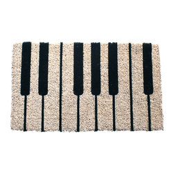 Entryways - Piano Hand Woven Coconut Fiber Doormat - Designed by an artist, this distinctive mat is a work of art that will add a welcoming touch to any home. It is from Entryways' handmade collection and meets the industry's highest standards. This decorative mat is handsomely hand woven and hand stenciled.