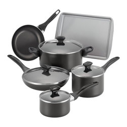 Farberware Cookware Division - Farberware Black Nonstick 15-piece Cookware Set with $10 Mail-In Rebate - Add simple,sleek style to your kitchen essentials with the Farberware 15-piece cookware set in black. With a nonstick construction,this aluminum and nylon cookware set is also dishwasher safe for easy cleaning.