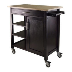 Winsome Wood - Mali Kitchen Cart - Our Mali Two-Toneed Kitchen Cart features natural wood top and espresso body with one large drawer, 3 shelves and cabinet with one removable shelf. Made of combination of solid and composite wood in Natural and Espresso Finish and includes casters for mobility.