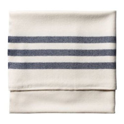 Serena & Lily - Camp Throw Navy - Everyone needs a throw to cozy-up to. Woven of whisper-soft alpaca fleece, ours has deep navy stripes against an ivory ground such a timeless look.