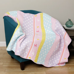 None - Polka Dot Stripe Quilted Throw - Butterflies and polka dots enliven this quilt, which features bold stripes in pastel colors. The throw's face, back and fill is machine washable and very comfortable 100-percent cotton.