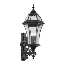 Kichler Lighting - KICHLER 49185BK Townhouse Traditional Outdoor Wall Sconce - With its tall and intricate design, the Townhouse Collection adds classic form to Kichler's expansive assortment of decorative outdoor lighting. Made by the finest craftsmen in the industry, each piece is formed from cast aluminum and is U.L. listed, ensuring these high quality fixtures will continue looking fabulous for years to come.