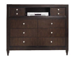 Hooker Furniture - Hooker Furniture Ludlow Eight-Drawer Media Chest in Walnut - Hooker Furniture - TV Stands - 103091117 - With a metropolitan and modern attitude Ludlow is distinguished by an intriquing walnut veneer story and hip fretwork detail.
