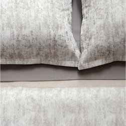 "Area - Area Leo Brown Cotton Duvet - 100% cotton jacquard in a mix of ""old"" and ""new"", soft abstract shapes over stripes. Brown is made with Various neutral tones. Grey is made with greys and a hint of blue. Thes were verry popular at the recent  NY NOW show. Available in duvet covers and shams in Queen and king sizes."