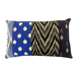 JITI - Ikat Patchwork Blue Pillow - Do you march to the beat of your own drum? Then this feather and down-filled, patchwork accent pillow is just up your alley. Compelling and cozy, this cotton ikat pillow will perfectly complement your eclectic decor.