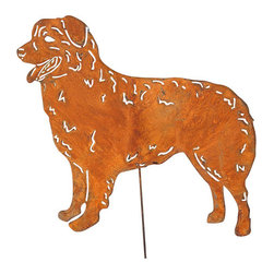 Rustica Ornamentals - Australian Shepherd Garden Stake or Wall Hanging - This handcrafted Australian Shepherd can be a Garden Stake or Wall Hanging to add charm and fun to any home or garden decor.