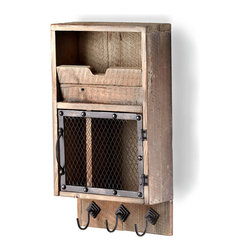Casey Wall Organizer - Key hooks, a divided cupboard, and a mail slot are assembled in raw wood to create the frank, practical appearance of the Casey Wall Organizer.  The dark iron of its hardware and mesh door contrast with the neutral tone of its rustic wood, giving old-style distinction to this useful piece for the office, the entryway, or a child's bedroom.