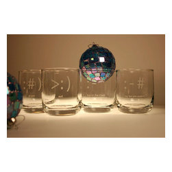 Rolf - Txt U Symbols Set Of 4 Room Tumbler Glasses - Have your text messages etched in glass, with our spectacular assorted set of 4 text message symbol room tumbler glasses. Made by the Rolf glass collection, each glass is designed with utmost quality and style. Boasting perfectly imprinted messages on lead free crystal glass, these tumblers are finished with a refined polish , giving these glasses a rich glow. Dishwasher safe, gift boxed. 10 oz. set includes 1 of each glass: kiss on the cheek, evil, my lips are sealed, and drunk.