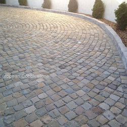 "15. Antique Sandstone Cobblestone Driveway, Pebble Beach CA - Charming antique, reclaimed sandstone cobblestone imported from Europe for a driveway and motor court using 5x5 and 3 to 4"" salvaged antique natural stone cobble stone pavers."