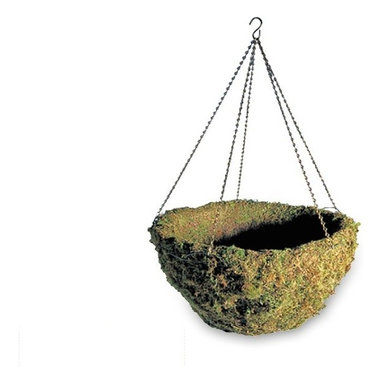 Windsor Woodland Moss Hanging Basket - Add unique hanging baskets to your front porch or patio for a fresh, not to mention GREEN, home accent that everyone will fall in love with. The Windsor Woodlands Moss Hanging Basket is suspended from green wire and includes the chain and hanger hook that you see here. Each exterior hanging planter is decked out with a vibrant green moss basket liner, making this one of the coolest hanging baskets for crafters and DIY'ers alike. We keep our hanging baskets in-stock for fast shipment.