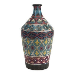 iMax - Kabir Small Hand Painted Vase - Globally inspired, this small hand painted vessel from India spices up any room with rich indigo contrasts and red accents.
