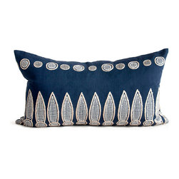 Kathy Kuo Home - Hanson Navy Blue Natural Hand Embroidered Rectangular Pillow - Hand embroidered pillows in linen and silk are sumptuously oversized and generously filled with down and feathers - tossed on a bed or a gathered on a sofa, create a lasting personal touch.
