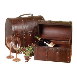 Renovators Supply - Treasure Chests Cherry Wood 8''H x 13''W x 6''D Ch - Antique Nesting Chest Set of 2. These treasure chests are a set of two antiqued miniature nesting chests. They  will make a great gift for that special collector. Wood with cherry finish and leather handle. The largest measures 8 in. High x 13 in. Wide x 6 in. Deep.