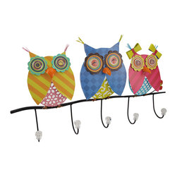 Zeckos - Brightly Painted 5 Hook Wall Mounted Owl Coat Rack - This brightly painted 5 hook metal owl wall rack is great for hanging coats and scarves in hallways and mud rooms, or for hanging coffee mugs in the kitchen. The rack features a trio of whimsical owls, all hand-painted in brightly colored hues, Clear, crystal-like knobs adorn the end of each hook to prevent clothing from getting pulls or tears. It measures 24 inches long, 14 inches tall, and 2 3/4 inches deep. It makes a great gift for owl lovers.