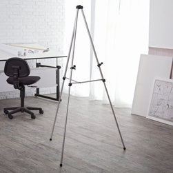 ALVIN® Aluminum Display Easel - The ALVIN Aluminum Display Easel is ideal for painting sketching and commercial display. Lightweight and portable it folds easily to a compact 36-inch closed size. Durable aluminum construction features .75 diameter two-section telescoping legs with non-skid rubber feet and quick-release leg locks. Height is 63 inches when fully extended and 34 inches in its lowest position. Features include a central cross brace for extra rigidity and height adjustable lower canvas support brackets. This easel holds a canvas from 3 to 33 inches in height and 1-inch thick.