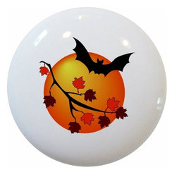 Carolina Hardware and Decor, LLC - Bat Fall Leaves Ceramic Knob - New 1 1/2 inch ceramic cabinet, drawer, or furniture knob with mounting hardware included. Also works great in a bathroom or on bi-fold closet doors (may require longer screws). Item can be wiped clean with a soft damp cloth. Great addition and nice finishing touch to any room!