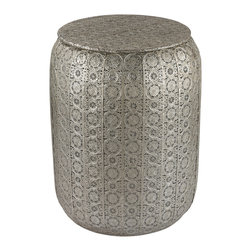 Sterling Lighting - Sterling Lighting Pierced Metal Work Stool - Ornate pierced metal covers this metal stool giving it a rich textured feel. It takes its influence from the traditional designs of the Indian subcontinent and provides useful/ casual seating for entertaining.