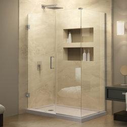 DreamLine - DreamLine SHEN-24535340-04 Unidoor Plus Shower Enclosure - DreamLine Unidoor Plus 53-1/2 in. W x 34-3/8 in. D x 72 in. H Hinged Shower Enclosure, Brushed Nickel Finish Hardware