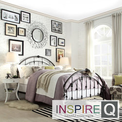 Inspire Q - Inspire Q Lamar Round Curved Double Top Arches Victorian Iron Metal Bed - The Lamar collection with round curved top and simple lines bed frame instantly captures the eye with a clean and inviting look. Both the headboard and footboard feature double top arches and rope knots detail design that is simply stunning.