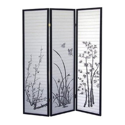 ORE International - 3-Panel Room Divider w Metal Frame in Black & - Lovely plant silhouettes. Folds flat for easy storage. Highlighted by three different prints. Rice paper panels. Metal frame. 50 in. L x 6 in. W x 70 in. H (10 lbs.)Create privacy, add texture or define a space with this handsome room divider. Bring a classic, Asian inspired style to any decor with this traditional Shoji screen. The screen is a perfect way to create artistic, architectural interest through your interior design.