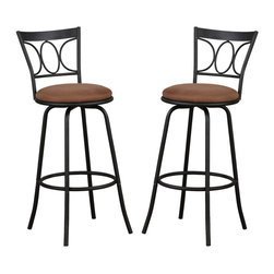 Adarn Inc. - Set of 2 Bar Counter Pub Stools Metal Adjustable Swivel Microfiber Seat Cushion - Share a glass of wine or a cup of tea, whatever your choice over this Euro-style dining set for two. Framed in a curvy black vine design, it features swivel bar stools with light brown seat cushions and a cream stone finished round table.