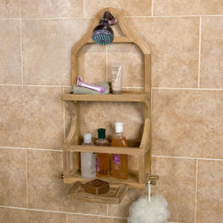 Teak Shower Caddy with Removable Soap Dish - This Teak Shower Caddy with Removable Soap Dish is perfect for storing tall containers such as shampoo and body wash bottles. It also features four hooks and is naturally unsealed, but can be easily finished if desired.
