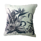 BohoCHIC Maui - Bird of Paradise Hawaiian Pillow Cover, White Black Cover Tropical Pillow, Decor - This Hawaiian pillow cover is perfect for anyone who would love to add bit of aloha and elegance in their home decor. Handmade from Hawaiian cotton, this lined white and black pillow has an organza back for added luxury and style.