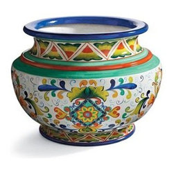 Italian-Inspired Painted Estate Urn - Italian-inspired planters are pretty with their own colors, so either add flowers for outdoors or just green plants for an indoor garden scene.