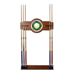 Trademark Global - Wood Wall Billiard Cue Rack w 9-Ball Logo Mir - Cue sticks not included. 8 Cue capacity. Furniture grade look. 2 pc. Medium oak veneered wood cue rack. 10 in. Dia. full color logo mirror. 30 in. L x 13 in. W x 4 in. H (16 lbs.)This Nine Ball Wood/Mirror Wall Cue Rack will fit in the decor of your billiard room.
