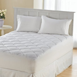 Wellrest 300TC Sateen Box Cotton Flexwall Mattress Pad - Top your mattress in comfort with the Wellrest 300TC Sateen Box Cotton Flexwall Mattress Pad. This mattress pad features a dual action stain repellent and stain-release feature and it's machine-washable for ultimate convenience. It has 10 ounces of ultra-fresh, antimicrobial fiber fill to keep microbes at bay. The 300-thread count cotton sateen top and non-woven polyester backing adds luxury. This mattress pad comes in your choice of size and includes a 16-inch skirt and generous 19-inch pocket depth to fit tall mattresses with ease.Mattress Pad Dimensions:Twin: 38x75 in.Full: 54x75 in.Queen: 60x80 in.King: 78x80 in.
