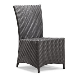 ZUO VIVA - Vallarta Chair Espresso - Bring modern elegance and comfort to your outdoor seating. The Vallarta Chair is the perfect complement for any outdoor table. The Vallarta chair has an elegant shape with a solid wide seat and back that provides a gentle contour to the shape of the body. The weave is a UV treated synthetic with a re-enforced interior aluminum tube frame. Sit comfortable, feel elegant and enjoy a great company.