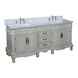 Kitchen Bath Collection - Versailles 72-in Bath Vanity (Carrara/Cream) - This bathroom vanity set by Kitchen Bath Collection includes an antique-style cabinet with soft close drawers, Italian Carrara marble countertop, double undermount ceramic sinks, pop-up drains, and P-traps. Order now and we will include the pictured three-hole faucets and a matching backsplash as a free gift! All vanities come fully assembled by the manufacturer, with countertop & sink pre-installed.