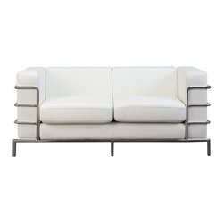 Diamond Sofa - Diamond Sofa Citadel Loveseat in White - The Citadel collection by Diamond  sofa is a Le-Corbusier-inspired design with an exposed tubular steel wrap-around frame. Covered with plush, deep cushioning, this contemporary collection offers a modern approach to a classic frame. The white bonded leather loveseat features a kiln-dried hardwood frame that is glued and reinforced, offers strength, while the zig zag spring suspension base gives you a supple seating that will hold up for years. The elastic webbing back suspension offers additional stability while allowing for the leather to breathe and maintain its shape. Seat cushions are comprised of a high density foam cushion wrapped in polyester fibers to ensure a comfortable, relaxing and lasting seat. Seat cushions and back pillows are attached to the frame to eliminate shifts or gaps. The crisp and angular lines promote an aura of strikingly modern comfort. White bonded leather finishes the piece, to provide and ensure years of comfort and enjoyment. Citadel loveseat measures 58 inches wide by 33 inches deep by 28 inches high.
