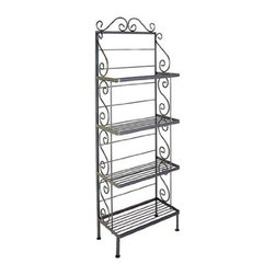 Grace Manufacturing - 24 Inch Steel French Bakers Rack With 4 Steel Shelves, Aged Iron - Dimensions: 24 inches wide, 13 inches deep, and 71 inches tall